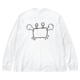 スーパーカニさん Big silhouette long sleeve T-shirts
