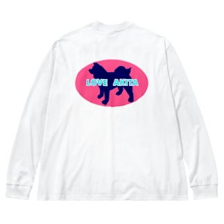 LOVE AKITA ピンク Big Silhouette Long Sleeve T-Shirt