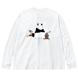 ドリップ待ちのパンダ🐼 Big Silhouette Long Sleeve T-Shirt