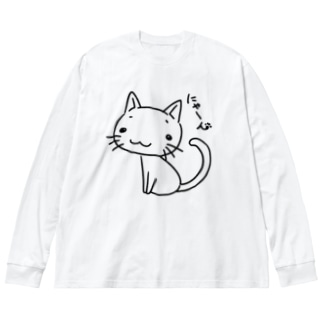 にゃーん Big silhouette long sleeve T-shirts