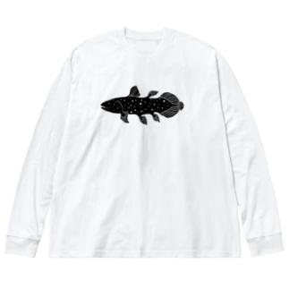 ほほえみシーラカンス Big silhouette long sleeve T-shirts