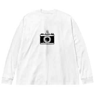 カメラとレスラー(モノクロ) Big silhouette long sleeve T-shirts