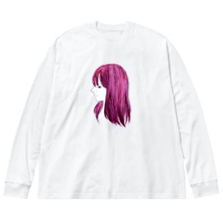 エンヴィ (ポスタライズ) Big silhouette long sleeve T-shirts