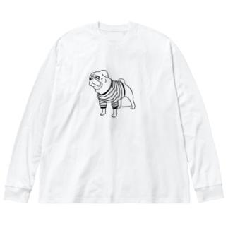 遊びたいパグ(ボーダー) Big silhouette long sleeve T-shirts