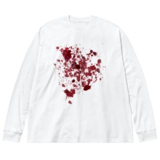 赤い血 Big silhouette long sleeve T-shirts