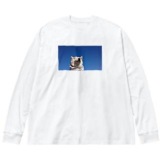 豆柴ビーンと青空 Big silhouette long sleeve T-shirts