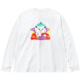福助 Big silhouette long sleeve T-shirts
