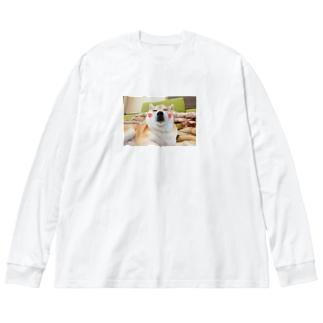 豆柴ビーンのほっぺ Big silhouette long sleeve T-shirts