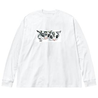 仲良しフクロモモンガ Big silhouette long sleeve T-shirts