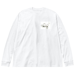 「ゃぁー」「ぷぅー」 Big silhouette long sleeve T-shirts