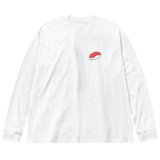 まぐろ 寿司 Big silhouette long sleeve T-shirts