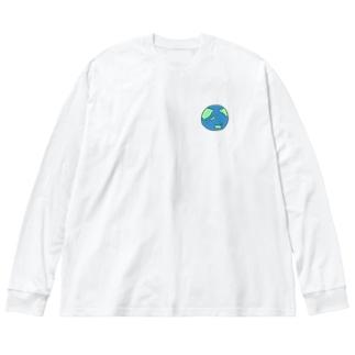 地球 Big silhouette long sleeve T-shirts