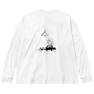 みんなでコーヒータイム Big silhouette long sleeve T-shirts