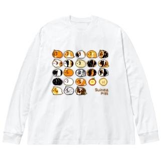 ドットモルモット Big silhouette long sleeve T-shirts