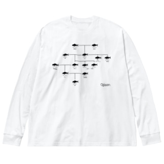 【与論産】オジサン家系図 Big silhouette long sleeve T-shirts
