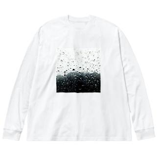 雨 Big silhouette long sleeve T-shirts