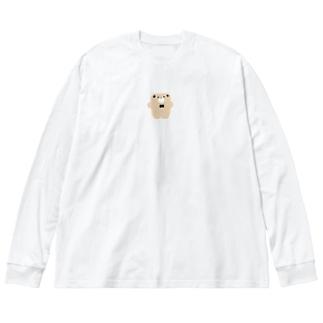 ぺたんこくまさん Big silhouette long sleeve T-shirts