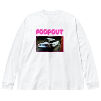 POOP OUT Big silhouette long sleeve T-shirts