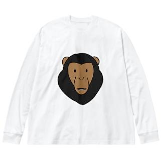 チンパンジー Big silhouette long sleeve T-shirts