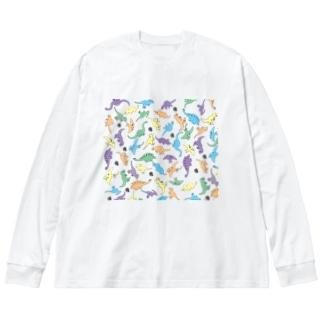 きょうりゅういっぱい Big silhouette long sleeve T-shirts