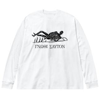 汝自身を知れ #3 bk Big silhouette long sleeve T-shirts