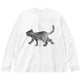 ネコタングル Big silhouette long sleeve T-shirts