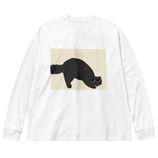 黒猫にゃーさん。 Big silhouette long sleeve T-shirts