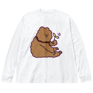 葉っぱくるくるたわしくん Big silhouette long sleeve T-shirts