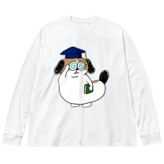 もじゃまる博士 Big silhouette long sleeve T-shirts
