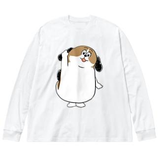 もじゃまるはーい! Big silhouette long sleeve T-shirts