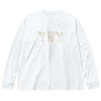 カクテル Big silhouette long sleeve T-shirts