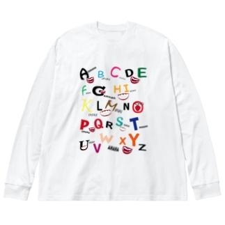笑い声 Big silhouette long sleeve T-shirts