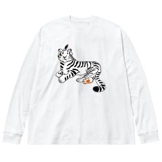 mya-mya=MIYA JUNKO's shop 02の虎と鳥 Big silhouette long sleeve T-shirts