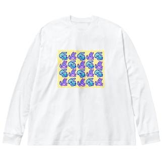 USAGI&NEKO Big silhouette long sleeve T-shirts