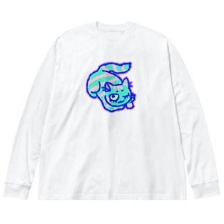のんびり♨ねこさん Big silhouette long sleeve T-shirts