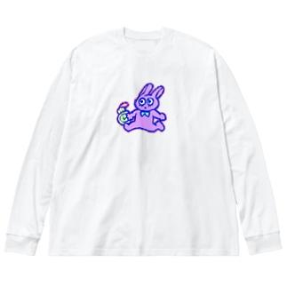 いそげ!うさぎさん! Big silhouette long sleeve T-shirts