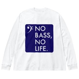 NO BASS, NO LIFE. Big silhouette long sleeve T-shirts