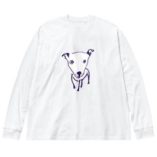 わんこ Big silhouette long sleeve T-shirts