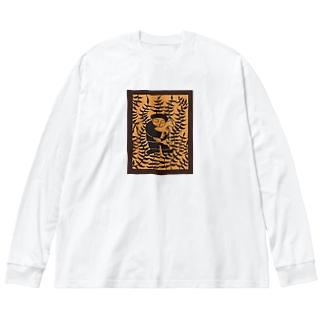 山羊と少年 Big silhouette long sleeve T-shirts