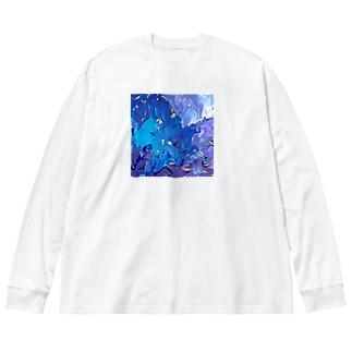 波間-1 Big silhouette long sleeve T-shirts