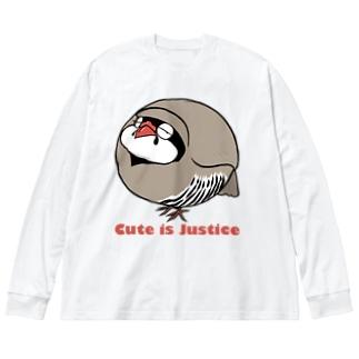 イワシャコの存在が正義 Big silhouette long sleeve T-shirts