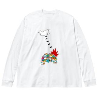 花くまゆうさくのBOMB & PEACE Big silhouette long sleeve T-shirts