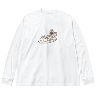 餃子ビール(シンプル) Big silhouette long sleeve T-shirts