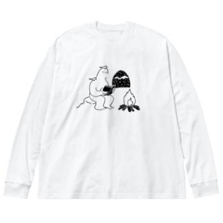 読書するイエティ Big silhouette long sleeve T-shirts