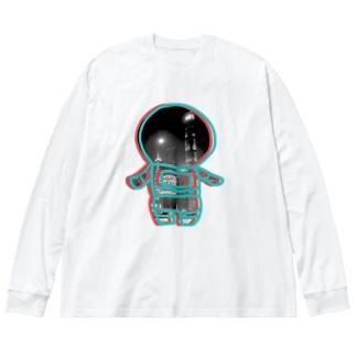 都市の宇宙飛行士 Big silhouette long sleeve T-shirts
