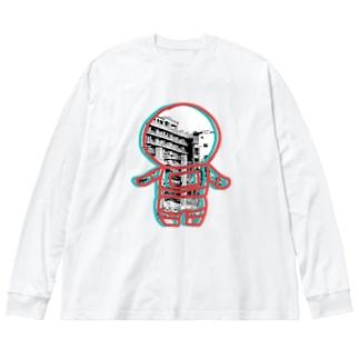 廃墟の宇宙飛行士 Big silhouette long sleeve T-shirts