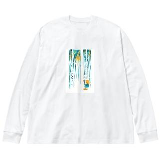 ひとねこ「森林のねこ」 Big silhouette long sleeve T-shirts