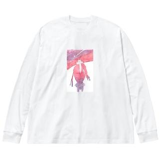ひとねこ「買い物ねこ」 Big silhouette long sleeve T-shirts