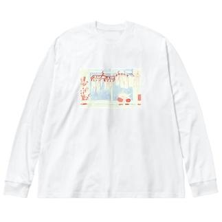 ひとねこ「洗濯ねこ」 Big silhouette long sleeve T-shirts