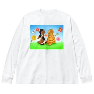 仲良し猫さん Big silhouette long sleeve T-shirts